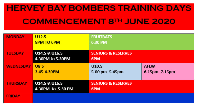 Hervey Bay Bombers FC - Training Days